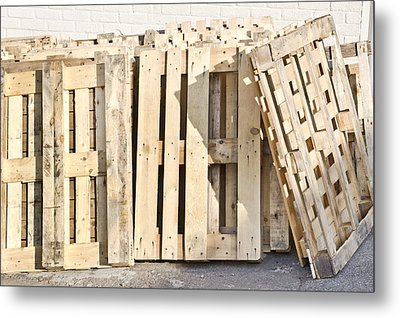 Wooden Pallets Metal Print