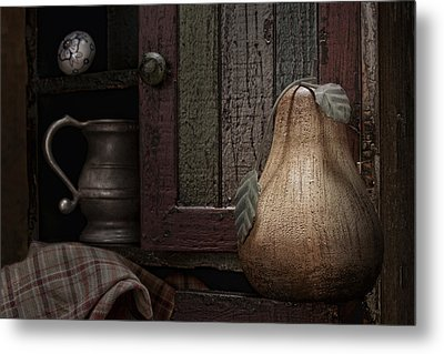 Wooden Pear Still Life Metal Print by Tom Mc Nemar