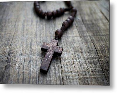 Wooden Rosary Metal Print