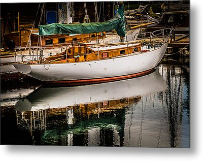 Wooden Sailboat Metal Print by Puget  Exposure