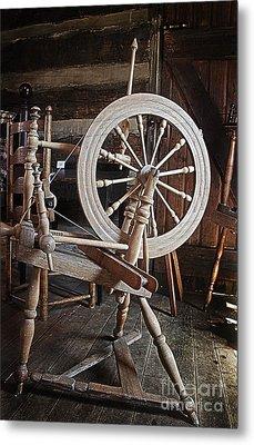 Wooden Spinning Wheel Metal Print by Sebastian Mathews Szewczyk