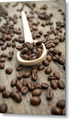 Wooden Spoon With Coffee Beans Metal Print by Aged Pixel