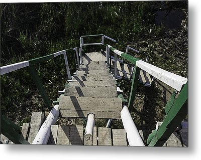 Wooden Steps Coming Down From A Watchtower Metal Print by Ashish Agarwal