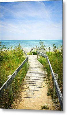 Wooden Walkway Over Dunes At Beach Metal Print by Elena Elisseeva