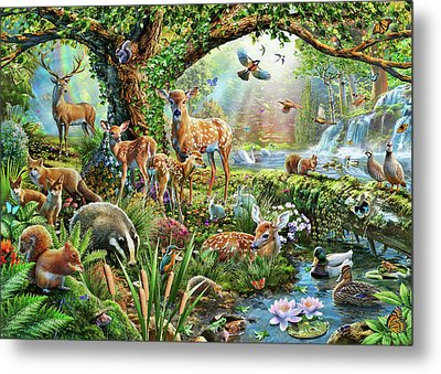 Woodland Creatures Metal Print