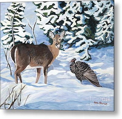 Woodland Creatures Meet Metal Print by Stella Sherman
