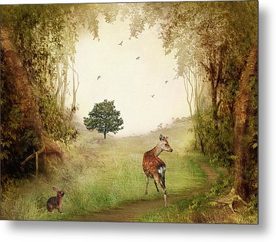 Woodland Friends Metal Print by Sharon Lisa Clarke