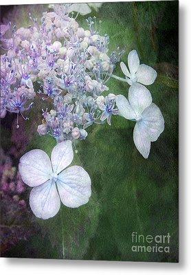 Woodland Hydrangea In Blue Metal Print