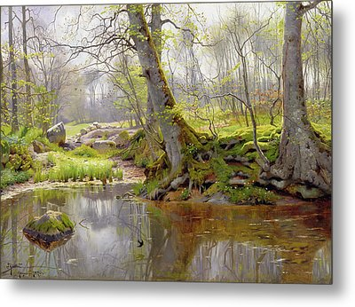 Woodland Pond Metal Print by Peder Monsted