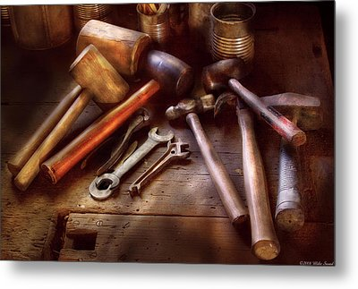 Woodworker - A Collection Of Hammers  Metal Print by Mike Savad