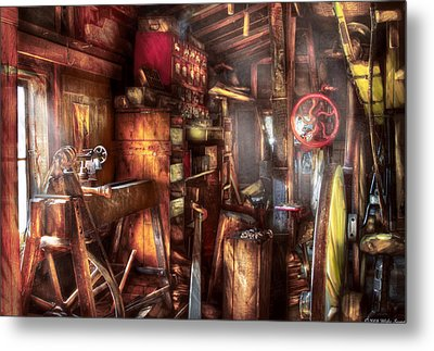 Woodworker - The Workshop Of A Very Busy Person Metal Print by Mike Savad