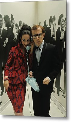 Woody Allen Posing With A Model Holding Metal Print