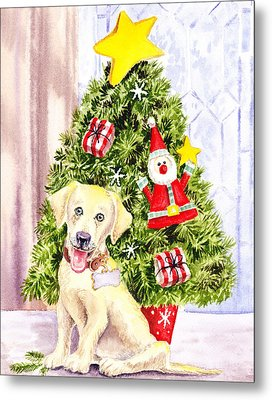 Woof Merry Christmas Metal Print by Irina Sztukowski