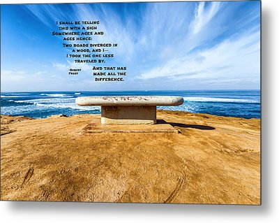 Words Above The Bench Metal Print by Joseph S Giacalone