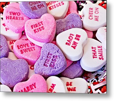 Metal Print featuring the photograph Valentine Candy Hearts by Vizual Studio
