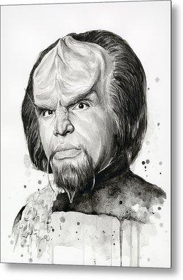Worf Portrait Watercolor Star Trek Art Metal Print by Olga Shvartsur