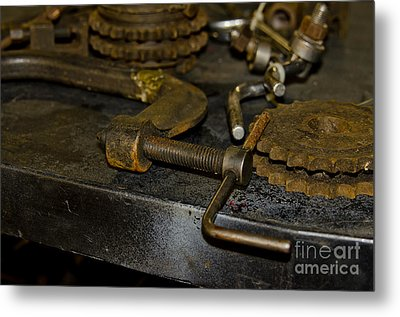 Work Bench Rusty Tools And Motorcycle Sprockets  Metal Print by Wilma  Birdwell