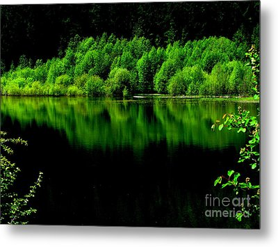 Work In Green Metal Print by Greg Patzer