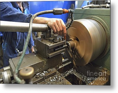 Worker At Factory Checking A Milling Cutter Metal Print by Sami Sarkis