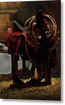 Working Man's Saddle Metal Print by Kim Henderson