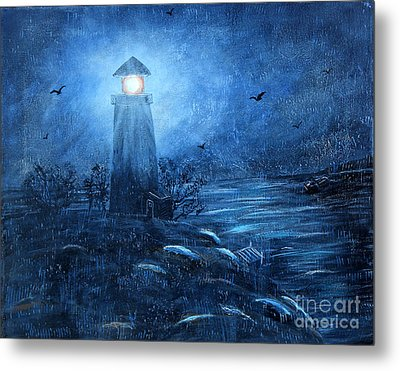 Working Night Shift In The Rain Metal Print by Barbara Griffin