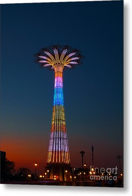 World Famous Parachute Jump In Coney Island Beach Metal Print
