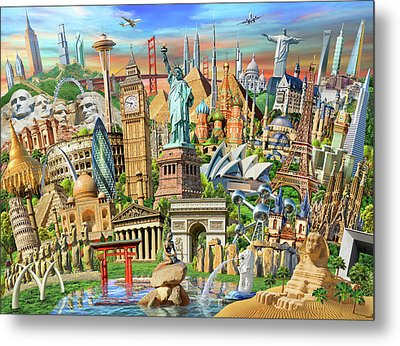 World Landmarks Collection Metal Print by Adrian Chesterman