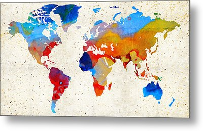 World Map 18 - Colorful Art By Sharon Cummings Metal Print