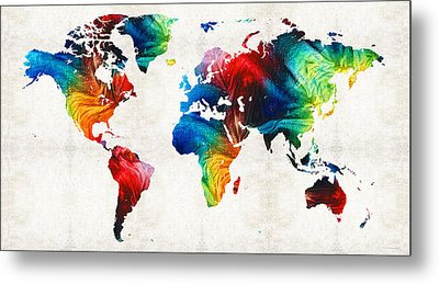 World Map 19 - Colorful Art By Sharon Cummings Metal Print