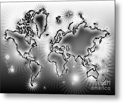 World Map Amuza In Black And White Metal Print by Eleven Corners