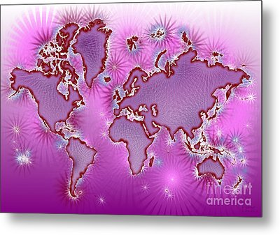 World Map Amuza In Pink And Purple Metal Print by Eleven Corners