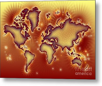 World Map Amuza In Red And Yellow Metal Print by Eleven Corners