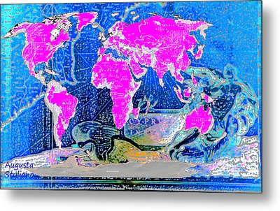 World Map And Aphrodite Metal Print