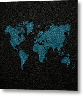 World Map Blue Vintage Fabric On Black Leather Metal Print by Design Turnpike
