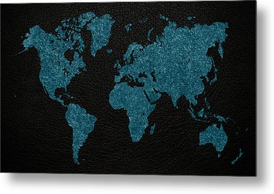World Map Blue Vintage Fabric On Dark Leather Metal Print by Design Turnpike