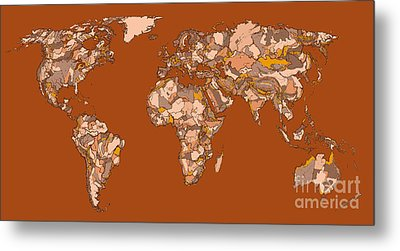 World Map In Sepia Metal Print by Adendorff Design
