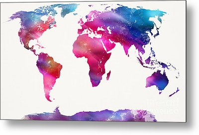 World Map Light  Metal Print by Mike Maher