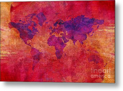 Metal Print featuring the digital art World Map  by Mohamed Elkhamisy