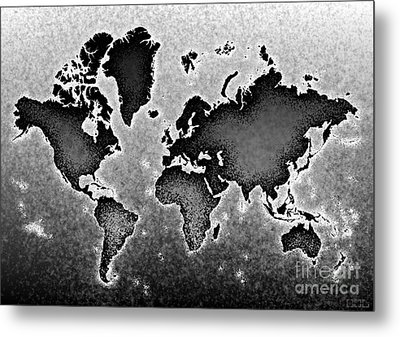 World Map Novo In Black And White Metal Print by Eleven Corners