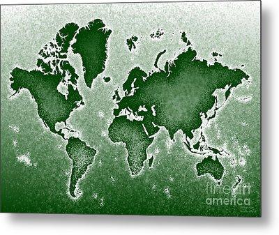 World Map Novo In Green Metal Print by Eleven Corners