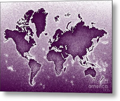 World Map Novo In Purple Metal Print by Eleven Corners