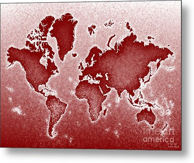 World Map Novo In Red Metal Print by Eleven Corners