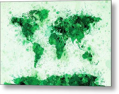 World Map Paint Splashes Green Metal Print