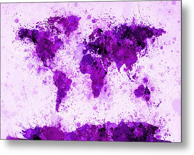 World Map Paint Splashes Purple Metal Print by Michael Tompsett