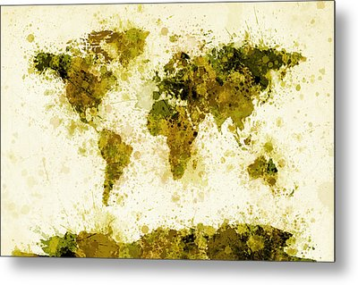 World Map Paint Splashes Yellow Metal Print by Michael Tompsett