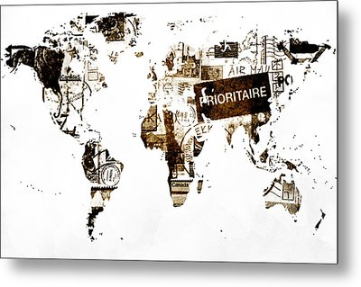 World Map Post Stamps Metal Print by Eti Reid
