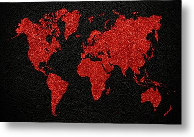 World Map Red Fabric On Dark Leather Metal Print by Design Turnpike