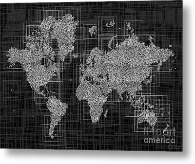 World Map Rettangoli In Black And White Metal Print by Eleven Corners