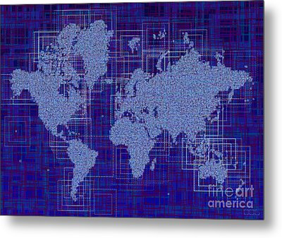 World Map Rettangoli In Blue And White Metal Print by Eleven Corners