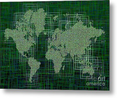World Map Rettangoli In Green And White Metal Print by Eleven Corners